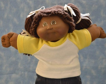 "Cabbage Patch Doll Clothes - for 16"" - 18"" Girl Dolls - Yellow and White T-Shirt - Handmade"