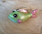Polymer Clay Fish Ornament - Christmas Tree Ornament - Sparkling Fish Decor -  Clay Fish Figurine  - Handmade Fish Ornament - Fish Sculpture