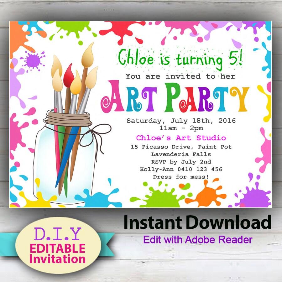 editable art party invitation paint party invites paint, Party invitations