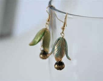 Brass Flower Dangles Snow Drops Blue Bell - made with brass petals and buttons