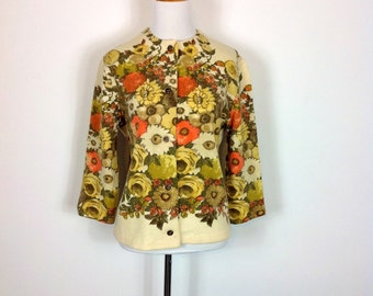 Autumnal Bouquet Cardigan - 60s Vintage Floral Wool - Kio Imported by Hooper and Associates