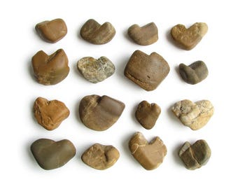 16 Natural Heart Shaped Rocks - River Beach Stones - Wedding, Valentines Day Decoration