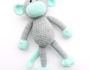 Morris the Crochet Monkey -  grey and mint green - *READY TO SHIP*