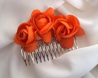 Bridesmaid Hair Comb, Bride Comb With Orange Silk Roses, Fall Wedding