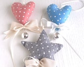 Angel caller for credle: irregular HEART shape in pink, blue or sand. Total high of 12 cm (of which 2cm of the silver bola) - hand sew