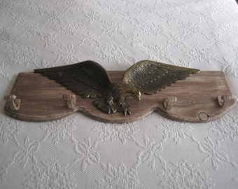 Brass Bald Eagle - Iconic Americana - Large Eagle Mounted on Salvaged Wood -  Hand Made Wall Hanging Coat Rack - Rustic Country