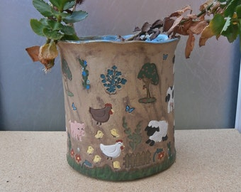 Ceramic plant pot with farm animals - Pottery planter - Stoneware brown pot with cows, horse, sheep, pigs, hens, chicks