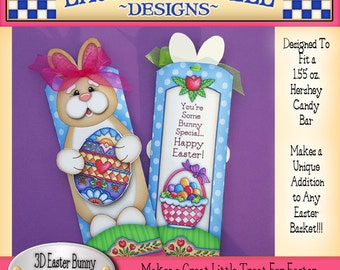 Easter Bunny Candy Bar Wrapper, Laurie Furnell, Bunny Wrapper Printable, Bunny Candy Bar Wrapper, Easter Candy Wrappers, 3D Candy Wrappers