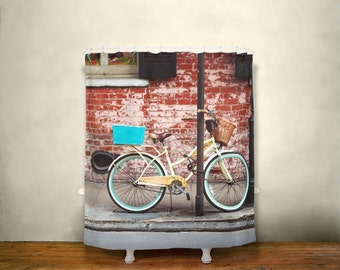 Bicycle Shower Curtain, New Orleans Decor, City Decor, Bike Shower Curtain, Bicycle Decor, Modern Decor, City Lovers
