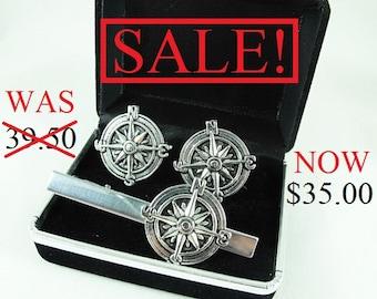 SALE! Silver Cufflinks Tie Clip Set,  Nautical Steampunk Compass  Mens Accessories Gift Box  Handmade