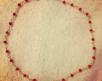 Red Rosary Chain Choker