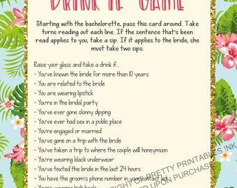 Printable bachelorette game/ bachelorette drinking game / bachelorette party game / drink if game / take a sip game / beach bachelorette