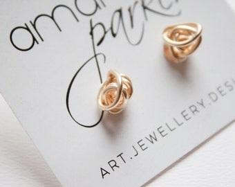 Gold Wrapped Wire Knot Stud Earrings - Hand Formed Gold Wire Studs - Everyday Statement Earrings