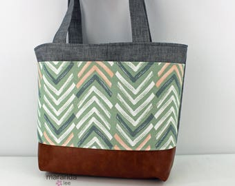 Lulu Large Tote Diaper Bag  Grey Denim with Dancer Mint Pocket and PU Leather  READY to SHIP