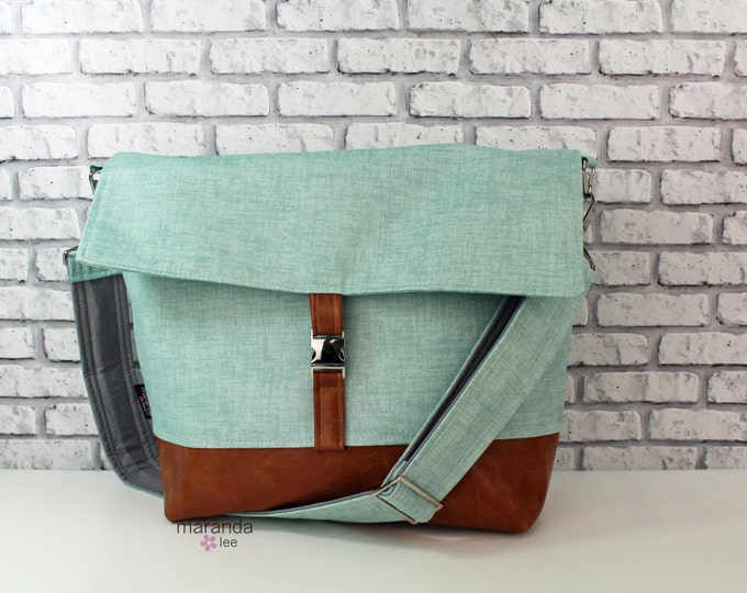 Lulu Large Flap Messenger Satchel  - Canal Denim and PU Leather READY to SHIP Travel Business Nappy Bag Stroller Attachment