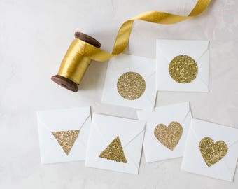 "Gold Glitter Large Stickers - 1.5"" - 24 pc - Circle / Triangle / Heart"