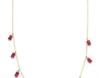 Ruby Root & Heart Chakra Necklace - 14K Gold Filled, Fine Bohemian Jewelry Layering Layer Boho, Gemstone, Healing Crystal Handmade Fancy Big