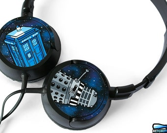 Doctor Who gift for her galaxy headphones unique gift for him gift for boyfriend girl dr who whovian geek sci fi Tardis in space earphones