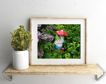 Garden Gnome Photo, Gnome Art, Gnome Photo, Gnome Photography, Whimsical Art, Nursery Art, Kids Room Art, Fairy Garden Photography