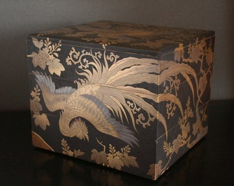 Japanese Jubako box, black lacquer, vintage Bento box, gold roosters, stacking jewelry box, stacking storage boxes