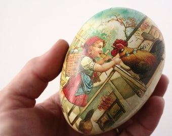 Vintage Easter egg, Germany, paper mache egg,  Easter candy box, German Easter Egg