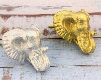 Elephant Knobs - Cabinet Knob - Animal Knob - Drawer Pulls - Gold Elephant - Dresser Knob - Elephant Decor - Nursery Decor - Elephant Drawer