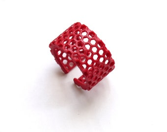 bright minimalist jewelry, red geometric ring - Slim Perforated Honeycomb Ring. 3d printed, modern.