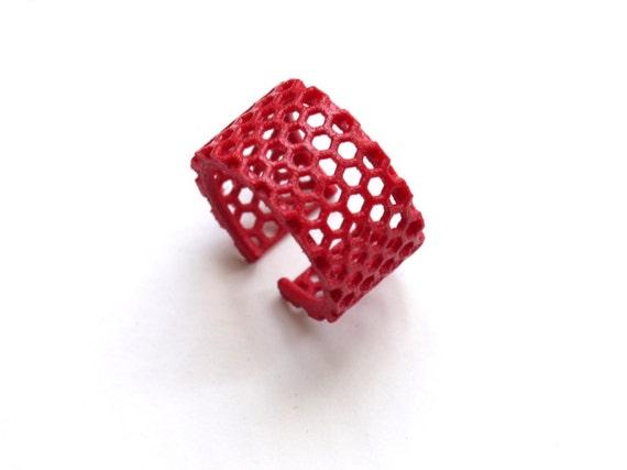 bright minimalist jewelry, red geometric ring - Slim Perforated Honeycomb Ring. 3d printed, modern.