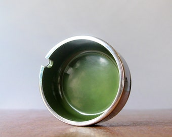 Small Vintage Mod Ashtray Maru Trend Pacific - Kenmochi Olive Green