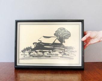 Vintage Signed Painting Black Ink on Paper Rural Scene / Barn Walker