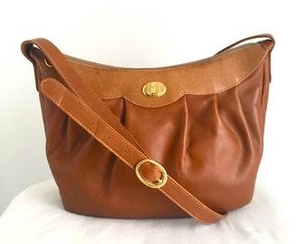 Vintage Mark Cross Tan Leather Shoulder Bag