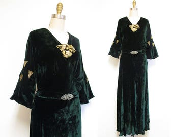 Vintage 1930s Dress | Deep Green Velvet and Gold Floral 1930s Gown | size large - xl