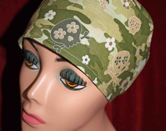 Girlie Camo Skulls Surgical Cap (biker/chemo/surgical)