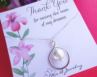 Mother of the groom gift, pearl necklace for mom, mothers day gift, wedding gift for mother in law, infinity necklace, otis b