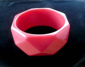 Lucite Bangle Bracelet Wide Thick Red Faceted Vintage Retro
