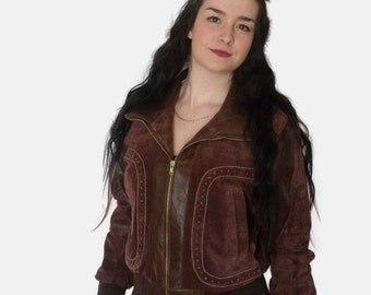 Recycled brown leather and suede jacket