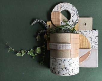 SECONDS SALE! Geometric Wall Hanging Ceramic Planter in Neutrals