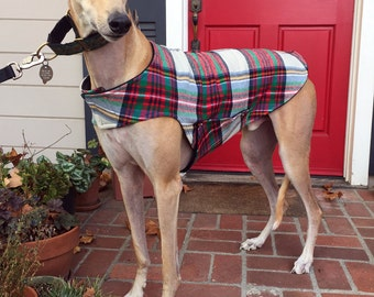 Greyhound Dog Coat, XL Dog Jacket, Green, Red, Black, Gold, Blue and Ivory Flannel Plaid with Black Fleece Lining