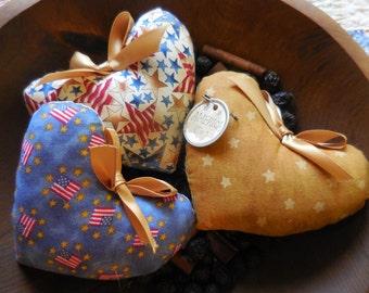 Primitive Patriotic Heart Set Bowl Filler Tucks Americana Ornament Hearts