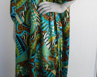 Vintage Caftan Winlar Satin Gold and Green Print Gown Lounger Dress