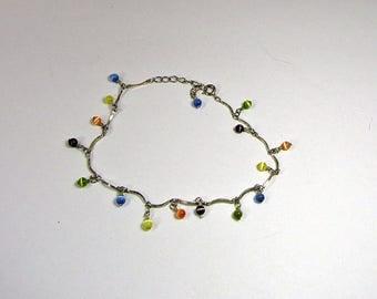 Vintage TINY BEAD BRACELET Silverplate Chain w/ Teeny Glass Beads Boho Jewelry Ankle
