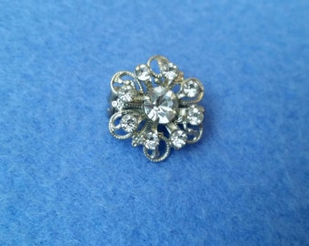 Vintage Rhinestone Flower Brooch Pin, small delicate costume jewelry