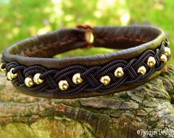 Viking Bracelet BIFROST Antique Brown Leather Sami Cuff with 14K Gold filled Beads and Black Wire Braid - Custom Handmade Norse Jewelry