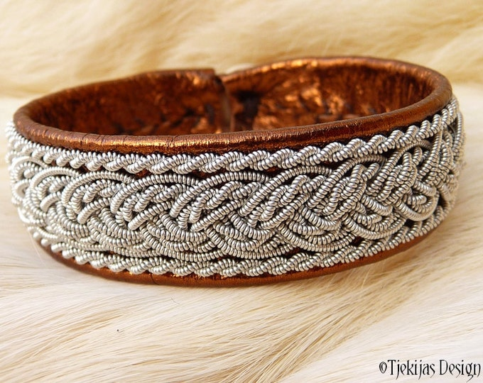 """Viking Sami Leather Bracelet Cuff GRANI size 16 cm / 6.3"""" - 20% off OUTLET ready to ship - Bronze Lambskin with braided Pewter Thread"""