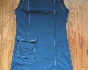 Vintage 60s Mod Blue Uniform Smock Dress with Contrast Stitching