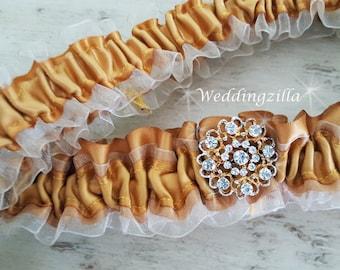 Plus Size Bridal Garter, Ivory Gold Wedding Garter,Organza Garter,  Wedding Garter Belt, Plus Size Garter, Boudoir, Gold Bridal Garter Set