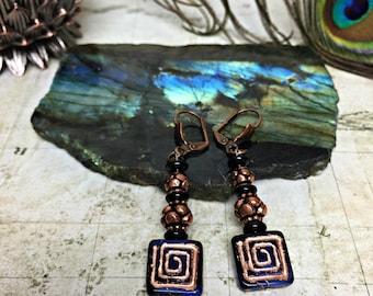 Blue Geometric Earrings - Geometric Jewelry, Womens Gifts, Boho Chic, Geometric Shapes, Blue Jewelry, Greek Key, Square Earrings