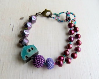 Berriful - handmade freshwater pearl and artisan bead bracelet in turquoise and berry purple tones with turquoise cottage - Songbead, UK