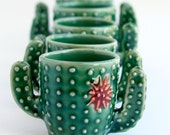 Cactus Shot Glass - Succulent Cup - Handmade Ceramic Pottery - READY TO SHIP