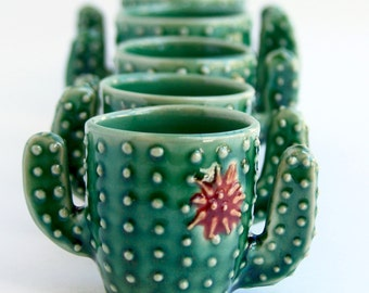 Cactus Shot Glass - Succulent Cup - Handmade Ceramic Pottery - MADE TO ORDER
